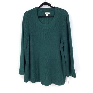 Style & Co Plus Size Sweater Flared Sleeve Green